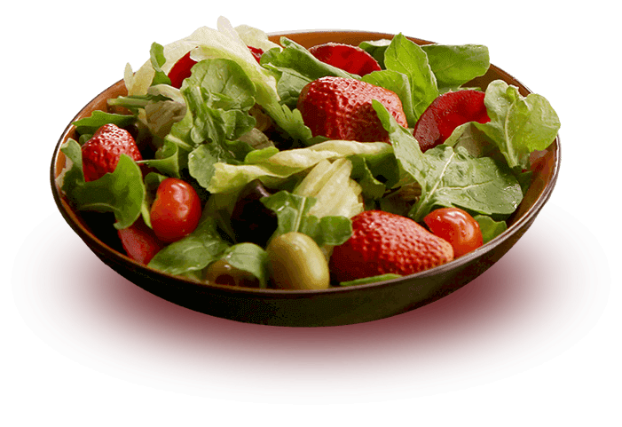 Crispy wai wai, arugula and strawberry salad